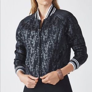 Fabletics Black Mesh Back Tia Bomber Jacket